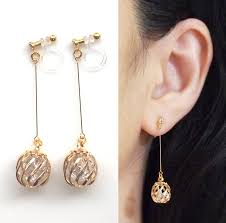 clip on earings crystals in cage invisible clip on earrings drop clip on earrings
