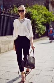 white shirt white necklace images Pants office outfits kayture kristina bazan top blogger jpg