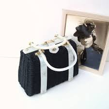 1950s woven handbag vintage wicker purse black bag with white