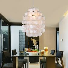 Contemporary Dining Room Lighting Fixtures by Lightinthebox Modern White Shell Pendant Chandelier Mini Style