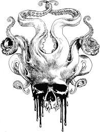 vise versa octopus with crying skull head tattoo design