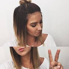 short ombré hair top knot bun hair pinterest shorts hair
