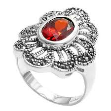 stone rings wholesale images Marcasite flower red cz wholesale sterling silver ring 925express jpg