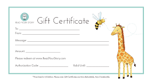 gift certificates gift certificate for personalized books read your story