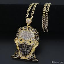 hip hop necklace pendants images Wholesale high quality plating hip hop chain masked avatar pendant jpg