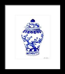 white ginger jar l blue and white ginger jar chinoiserie 10 framed print by laura row