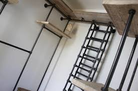 Bookcase Ladder And Rail by Sorrenti Reclaimed Scaffolding Board And Dark Steel Pipe 3