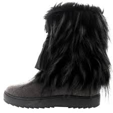womens fur boots uk womens yeti eskimo fur winter waterproof fashion mid calf