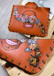 leather case for macbook air or macbook pro skulls