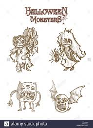 Cartoon Halloween Monsters Halloween Monsters Spooky Sketch Style Cartoons Set Eps10 Vector
