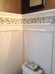 Bathroom With Wainscoting Ideas by Powder Room Update Shadow Box Wainscoting And Tile Border