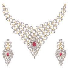 diamond necklace earring set images Buy zeneme gold plated american diamond necklace set jewellery jpg