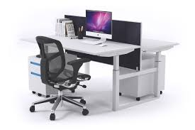 Height Adjustable Office Desks by Sit Stand 2 Person Workstation Electric Height Adjustable Stand Up