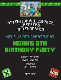 mine craft invitation template minecraft birthday invitation