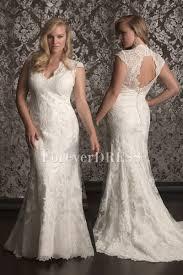 plus size wedding dresses 100 lace v neck cut outs back sheath plus size wedding dress