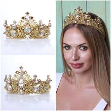 bridal tiara venice golden white wedding crown gold bridal tiara olenagrin