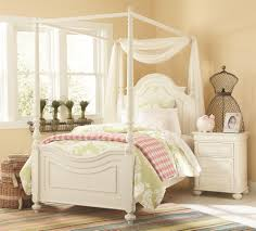 Canopy Curtains Pink Stained Wooden Single Bed With White Canopy Curtain Mixed