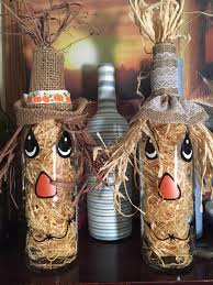 my take on scarecrow decorated wine bottles so fun to make