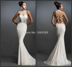 Formal Gowns Aliexpress Com Buy Mermaid White Prom Dresses Halter Sleeveless