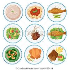 cuisine types different types of food on plates illustration vectors