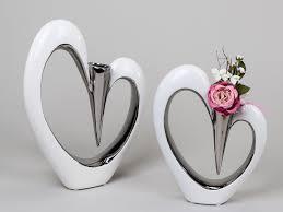 modern deco vase vase heart shaped ceramic white silver height