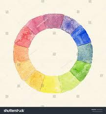 handmade color wheel watercolor spectrum vintage stock