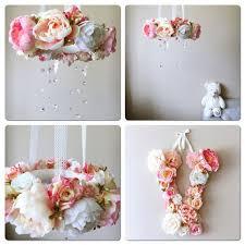 nursery wall letters flower gift baby pink by paulettastore