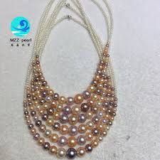 pearls necklace making images Mixed color round pearl necklace in gradual shape 2 9mm very high jpg