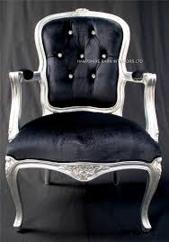 black velvet bedroom chair a a cheshire ornate chair with arms in silver leaf with crystal