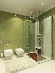 design with green tile bathroom design using glass shower room