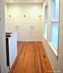 Installing Laminate Flooring On Walls Tutorial And Tips For Using Shiplap Walls In The Bathroom