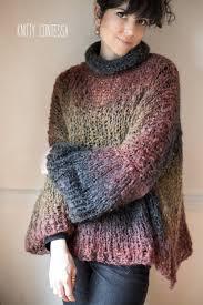 hand knit oversized sweater turtleneck poncho oversized knit