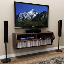 interior furniture espresso walnut floating tv cabinet with dvd
