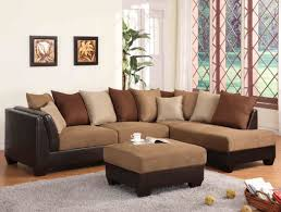 Livingroom Sectionals by Sectional Sofa In Light Brown Terylene Fabric 10956