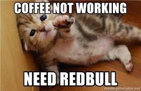 Not Working Meme - coffee not working need redbull fallen kitten meme generator
