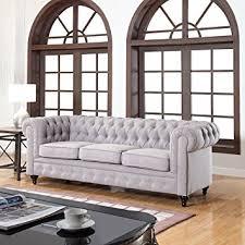 Classic Chesterfield Sofa Amazon Com Classic Linen Fabric Scroll Arm Tufted Button