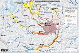 Eatonville Washington Map by Mt Rainier Lahar Hazard Map