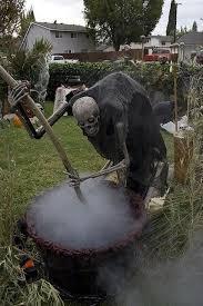 Halloween Outdoor Decorations Pot Stirring Skeleton Halloween Props Yard Decor Halloween