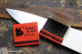 michael myers halloween prop rabbit in red lounge match book halloween movie screen
