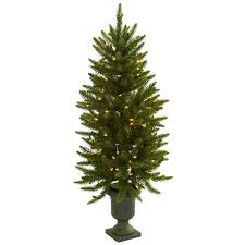 4 foot tree with urn and clear lights free shipping