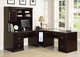 Office Desk With Hutch Storage Corner Office Desk In Wooden Materials Desk Design