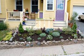 natural front yard landscaping with kind of flowers to make more