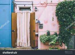 colorful house facades mediterranean architecture pink stock photo