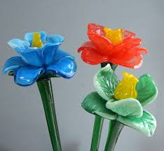 Long Stem Flowers Glass Flowers
