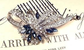 hair broach sapphire blue wedding hair comb navy clear