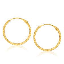 sleepers earrings 9ct yellow gold diamond cut sleepers earrings in 15mm 10253866