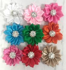 satin ribbon flowers 1 5 satin ribbon flowers small satin flowers rhinestone center