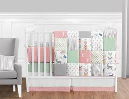 Girls Crib Bedding Amazon Com Coral Mint And Grey Woodsy Deer Girls Baby Bedding 9