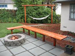 deck backyard ideas concrete deck with stone fire pit for inexpensive small backyard