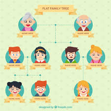 flat family tree with cheerful characters vector free